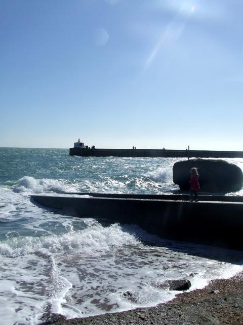 La jetée à Barfleur à marée haute